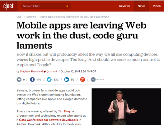 Mobile apps are leaving Web work in the dust, code guru laments